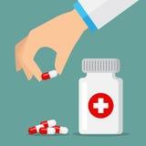 Iconos de las píldoras rojos y blancos Foto de archivo