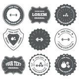 Iconos de las pesas de gimnasia Símbolos del deporte de la aptitud Imagen de archivo libre de regalías