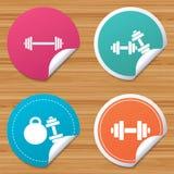 Iconos de las pesas de gimnasia Símbolos del deporte de la aptitud Fotografía de archivo