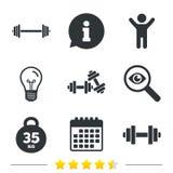 Iconos de las pesas de gimnasia Símbolos del deporte de la aptitud Fotos de archivo