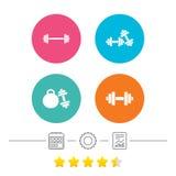 Iconos de las pesas de gimnasia Símbolos del deporte de la aptitud Imagen de archivo