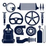 Iconos de las piezas de automóvil Imágenes de archivo libres de regalías
