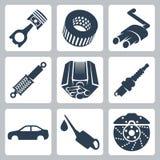 Iconos de las piezas del coche del vector fijados stock de ilustración