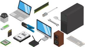 Iconos de las piezas del ordenador fijados Imagen de archivo