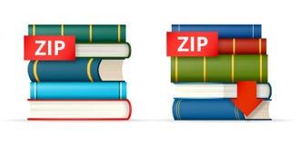Iconos de las pilas de libros de la CREMALLERA Fotografía de archivo libre de regalías