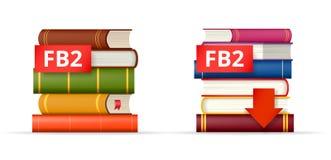 Iconos de las pilas de libros FB2 Fotos de archivo