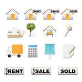 Iconos de las propiedades inmobiliarias stock de ilustración