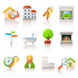 Iconos de las propiedades inmobiliarias ilustración del vector