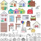 Iconos de las propiedades inmobiliarias Imagen de archivo