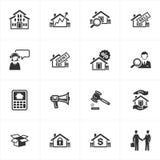 Iconos de las propiedades inmobiliarias Fotografía de archivo libre de regalías