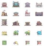 Iconos 2 de las propiedades inmobiliarias Fotografía de archivo libre de regalías