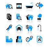 Iconos de las propiedades inmobiliarias Imagen de archivo libre de regalías