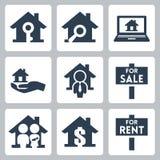 Iconos de las propiedades inmobiliarias del vector fijados