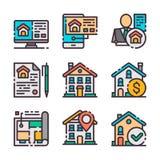 9 iconos de las propiedades inmobiliarias del vector fijados Caza casera El vector colorea iconos stock de ilustración