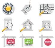 Iconos de las propiedades inmobiliarias del vector. Parte 3 stock de ilustración