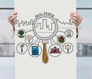 Iconos de las propiedades inmobiliarias en el cartel Fotos de archivo libres de regalías