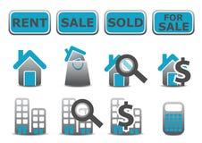 Iconos de las propiedades inmobiliarias fijados Foto de archivo libre de regalías