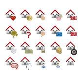 Iconos de las propiedades inmobiliarias y de la casa Fotografía de archivo libre de regalías