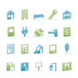 Iconos de las propiedades inmobiliarias y del edificio