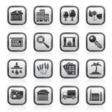 Iconos de las propiedades inmobiliarias y del edificio Fotografía de archivo
