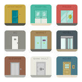 Iconos de las puertas fijados Fotos de archivo libres de regalías