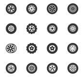 Iconos de las ruedas y de los bordes fijados Imagen de archivo libre de regalías