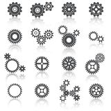 Iconos de las ruedas y de los engranajes de los dientes fijados Foto de archivo