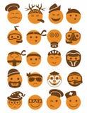 20 iconos de las sonrisas fijaron la profesión anaranjada Fotos de archivo