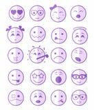 20 iconos de las sonrisas fijaron púrpura del niño media Fotos de archivo