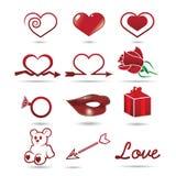 Iconos de las tarjetas del día de San Valentín Imagen de archivo libre de regalías