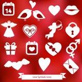 Iconos de las tarjetas del día de San Valentín Fotografía de archivo libre de regalías