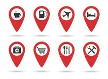 Iconos de las ubicaciones Una colección de marcadores del mapa con las marcas de servicio Ilustración del vector Ubicaciones plan ilustración del vector