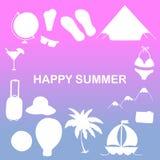 Iconos de las vacaciones de la travesía hechos en la línea estilo de moda Emblema de la aventura del verano Imagen de archivo