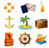 Iconos de las vacaciones del recorrido de la travesía Fotos de archivo