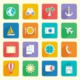 Iconos de las vacaciones del viaje fijados Imagen de archivo