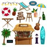 Iconos de las vacaciones de verano fijados Foto de archivo libre de regalías