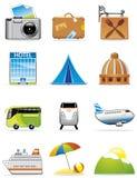 Iconos de las vacaciones y del recorrido ilustración del vector