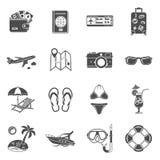 Iconos de las vacaciones y del turismo fijados Foto de archivo libre de regalías