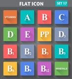 Iconos de las vitaminas fijados en estilo plano Imágenes de archivo libres de regalías