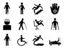 Iconos de lesión fijados Fotos de archivo