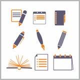 Iconos de libretas y de lápices Fotos de archivo