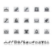 Iconos de limpieza y que se lavan Fotografía de archivo