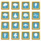 Iconos de los árboles azules ilustración del vector