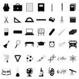 Iconos de los accesorios de la escuela fijados Fotos de archivo libres de regalías
