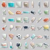 Iconos de los accesorios de la escuela fijados Fotografía de archivo