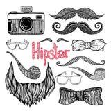 Iconos de los accesorios del estilo de pelo del inconformista fijados ilustración del vector