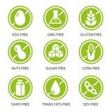 Iconos de los alergénicos stock de ilustración