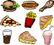 Iconos de los alimentos de preparación rápida Fotos de archivo