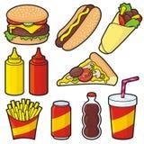 Iconos de los alimentos de preparación rápida Foto de archivo
