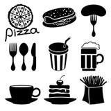 Iconos de los alimentos de preparación rápida. Imágenes de archivo libres de regalías